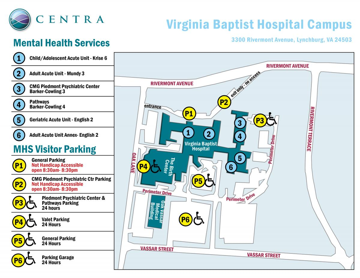 Mental Health Services Map at VBH Campus | Centra Health - Central ...