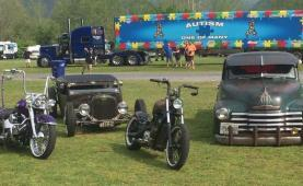 Car Show with Old Cars & Motorcycles