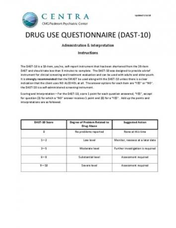 Drug Use Questionnaire (DAST-10) Instructions