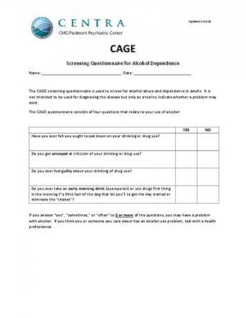 CAGE Screening Questionnaire for Alcohol Dependence