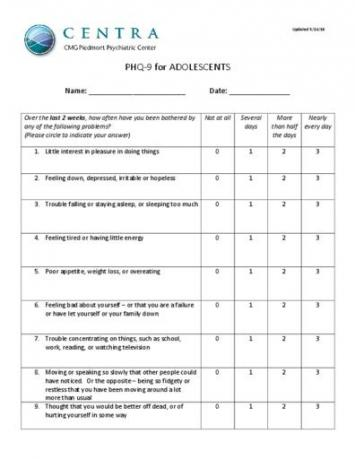 PHQ-9 for Adolescents